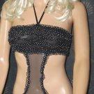 Victoria's Secret $45 Black Ruffle Back Bandeau Teddy Small   258158