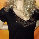 Victoria's Secret Black Embellished Brass Studded Cap Sleeve Top Size Small  248609