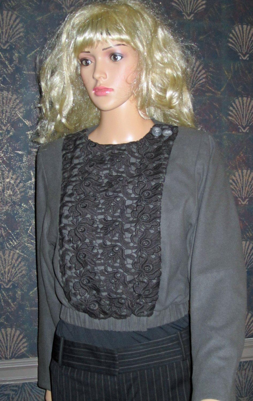 Victoria�s Secret $228 Lace Bib Snap Front Wool Blend Blazer Jacket Size 2 243537