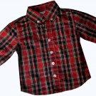 Authentic J. Khaki $44 Boys Red Plaid Button Down Shirt 12 months  4124521