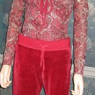 INC $85 Red Sequin Paisley Top & Central Park West Red Velour Pants Small Set  507872