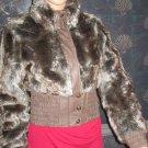 MURMUR $398 Faux Fur Faux Leather Brown Zip Jacket Medium  5031