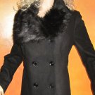 Victoria's Secret $168 Black Fur Collar Jacket Peacoat XL Petite 275671