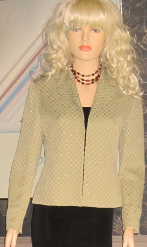 Jones New York Zip Front Green Basil Jacket Blazer 8 Petite 111709