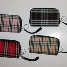 Beige Plaid Wristlet
