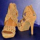 Victoria's Secret $169 Kelsi Dagger Embellished Camel Beige Suede Shootie Sandal 10  283890
