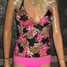 Victoria's Secret $86 Forever Sexy Black Floral Tankini Small  248423 281734