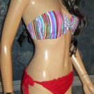 Victoria's Secret $54 Red and Striped Bikini Large Medium  254224
