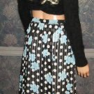 Macy's Valerie Stevens $58 100% Silk Black Print Skirt 14  47014
