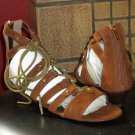 Victoria's Secret $78 Lace-Up Mini Wedge Brown Gladiator Sandals 8.5  280400