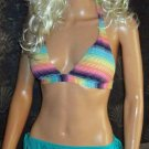 Victoria's Secret Turquoise Multi Push-up Halter Bikini XL Bottom Medium Top  228419 moss