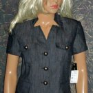 Kasper $129 Black Denim Short Sleeve Dressy Shirt or Jacket 4  82368