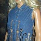 NWT Life Style Cat Lovers Blue Denim Sleeveless Shirt Top Petite P2265