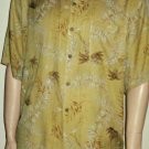 Baracuta $75 Men's Hawaiian Print  Short Sleeve Goldtone Casual Shirt  XXL 102610