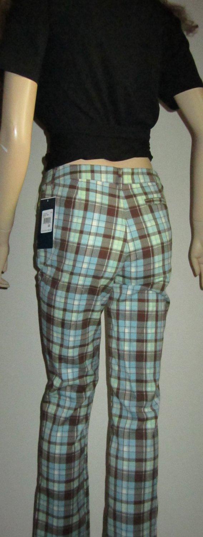NWT Hartstrings Girls Aqua Green Brown Plaid Jeans Slacks Pants 16 86228