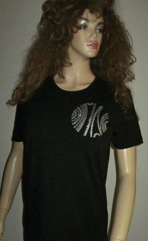 Nordstrom $69 Black Short Sleeve Jeweled Long Top Large 61913