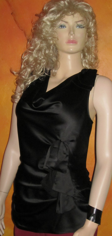 Victoria's Secret $60 Black Sateen Sleeveless Blouse Large 264115