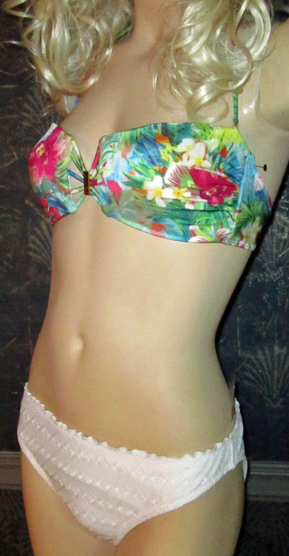 Victoria's Secret $75 Padded Sexy Bandeau Floral White Bikini Large  259572