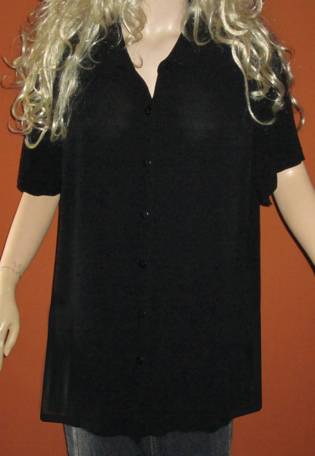 Venezia $45 Women's Black Short Sleeve Button Down Long Shirt Top 18-20 76977