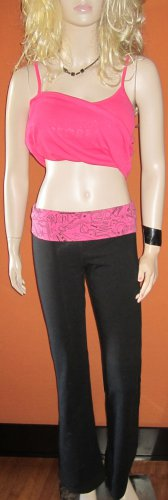 Victoria's Secret $50 Hot Pink Graphic on Black Foldover Yoga Pant XS Cropped 263018  193760