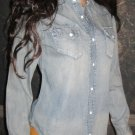 Victoria's Secret Blue Denim Button Front Long Sleeve Shirt XS 267759