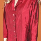 Silkland $115 Women's Red Silk Embroidered 3/4 Sleeve Shirt Top 16 88820