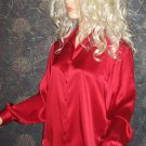 NWT Style & Co.Royal Gems Collection $80 Red Silk Long Sleeve Shirt Top 8 1830GR