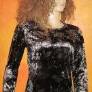 NWT Chico's 0 Golden Beauty Black Multi Color Velvet Long Sleeve Top Small XS   182199