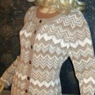 NWT Charter Club $80 Beige Multi Color Cardigan Sweater Petite Large 804600