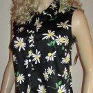 NWT Charter Club Sleeveless Black Floral Print Golf Shirt Top 10 804610
