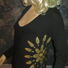 Victoria's Secret $48 Gold Graphics on Black Long Sleeve Tee Top Small  197019