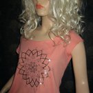 Victoria's Secret Coral Silver Cap Sleeve Top Large  196457