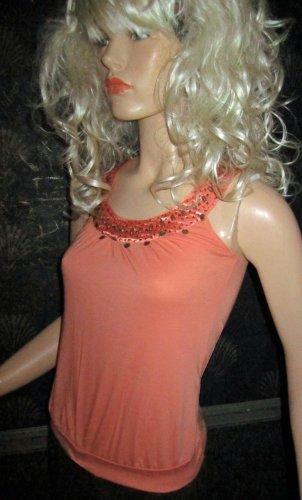 Victoria's Secret Licorice Orange Coral Beaded Sleeveless Tank Top XS 197874