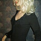 August Silk $68 Frilled V-Neck Long Sleeve Black Sweater Small  76919