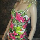 NWT Lane Bryant Swim Cacique Floral One Piece Ruched Swimsuit Swimdress 26w 620302