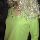 NWT  South Beach Hearts of Palm 3/4 Sleeve Green Beaded Neck Top Medium 38451