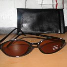 Kenneth Cole Reaction Oval Black Sunglasses With Soft Black Monogrammed Case  012405