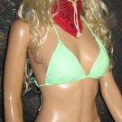 Victoria's Secret $50 Green & Black Padded Sliding Triangle Halter Bikini Large   248435