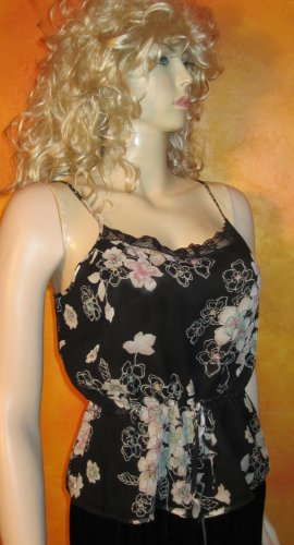 Nordstrom $115 Black Silk with Floral Print Sleeveless Cami Tank Top Blouse 8 71323