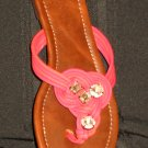 NIB Victoria's Secret $49 Orange Pink Jewel Thong Sandals 8 265773