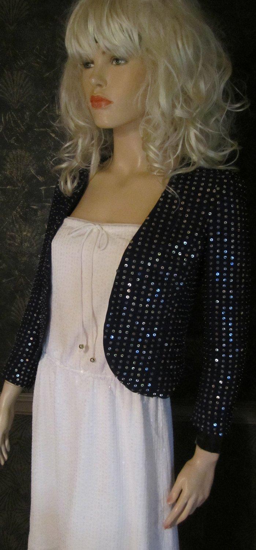 Victoria's Secret $149 Dark Blue Sequin Beaded Jacket Blazer 0 291062