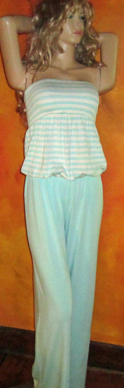 Victoria's Secret $68 Aqua Smocked Strapless Jumpsuit Small 295347