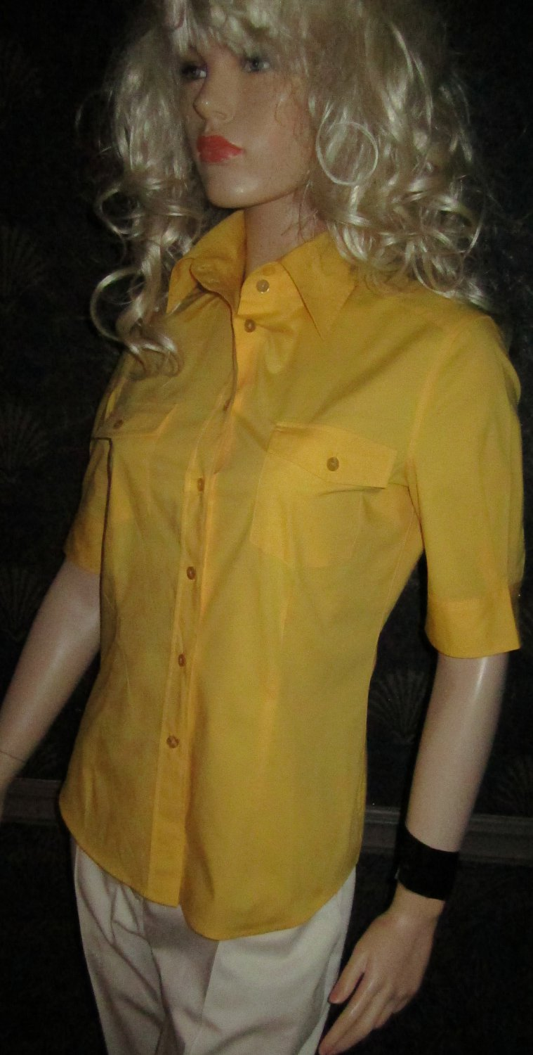 Victoria's Secret $48 Yellow Short Sleeve Camp Shirt Small 203999
