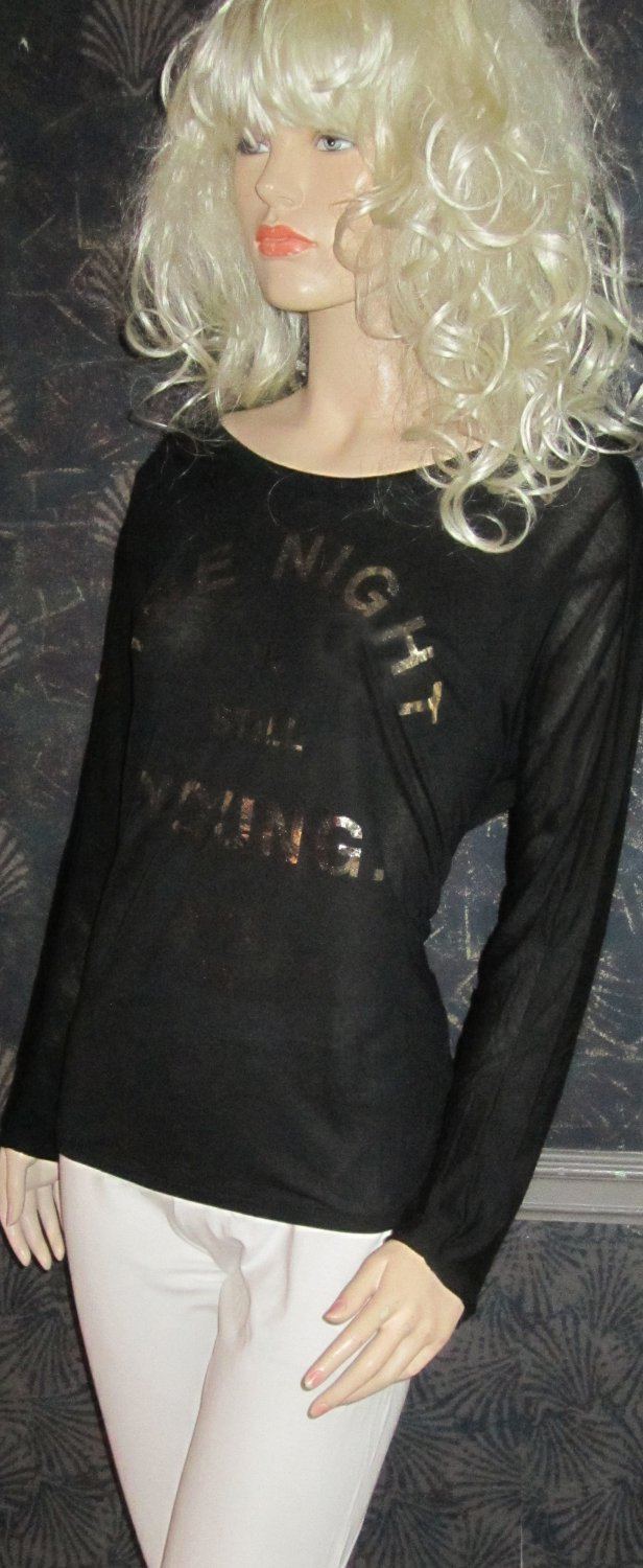 Victoria's Secret Sexy Black The Night is Still Young Long Sleeve Top Small 305393