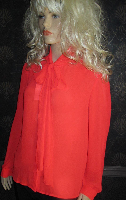 Victoria's Secret Orange Red Pussy Bow Tie Shirt Blouse Medium 302236