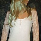 Victoria's Secret $60 Long Lace Sleeve Pale Pink Henley Top Small  302823
