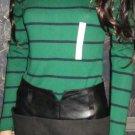Vivienne Tam Black Denim & Leather Skirt 4 - 6 97206