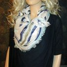 Victoria Secret Lighweight White Navy Stripe Print Supermodel Essentials Scarf 300999