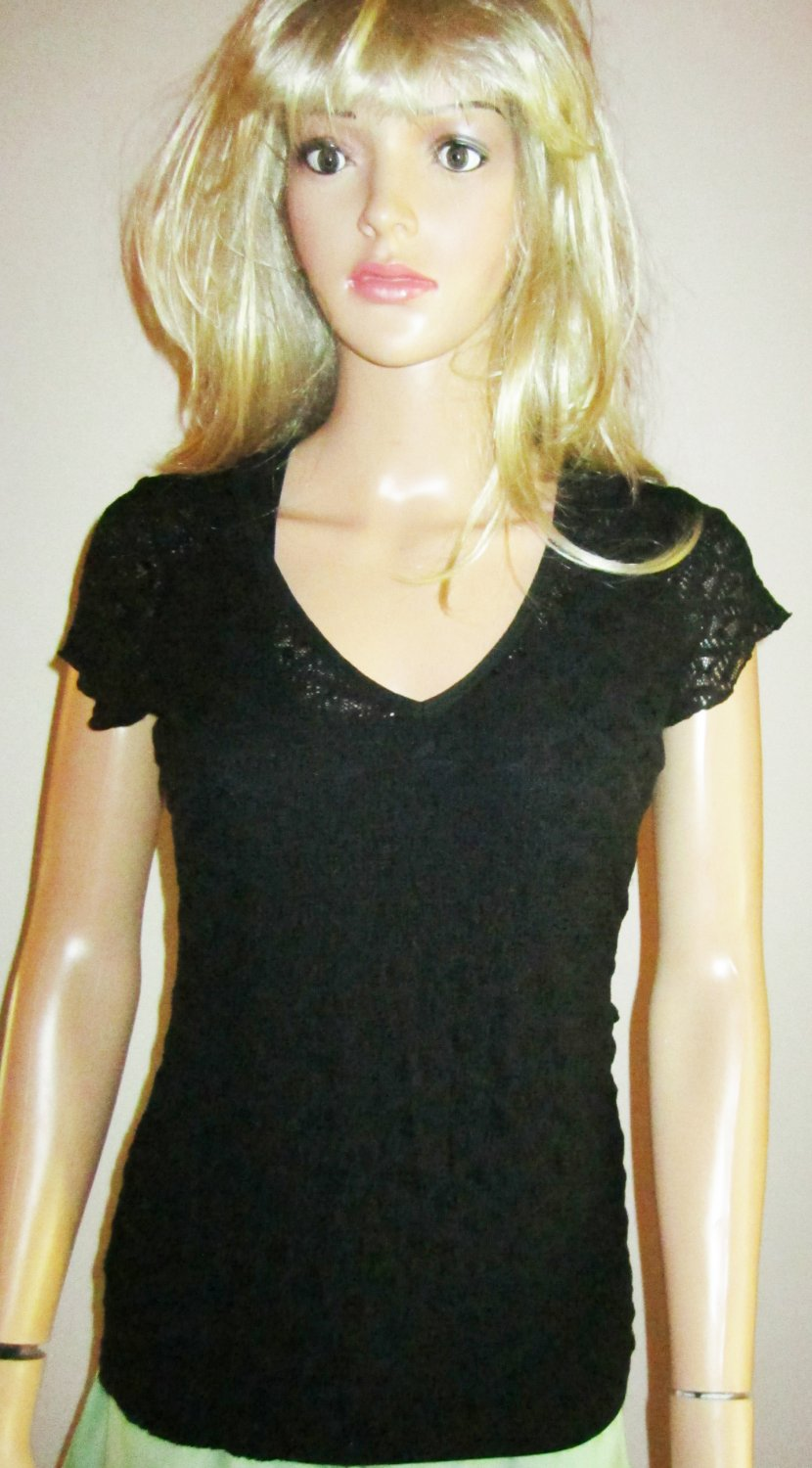 Victoria's Secret Black Short Sleeve V Neck Lace Tee Top Size Small 279219