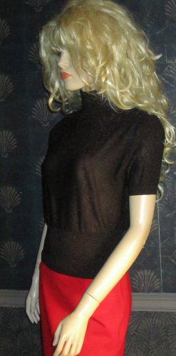 Victoria Secret $58 Black Red Lurex Sweater Small  249450